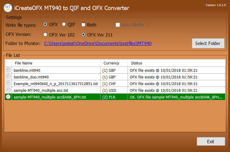 PayPal CSV to OFX main screen
